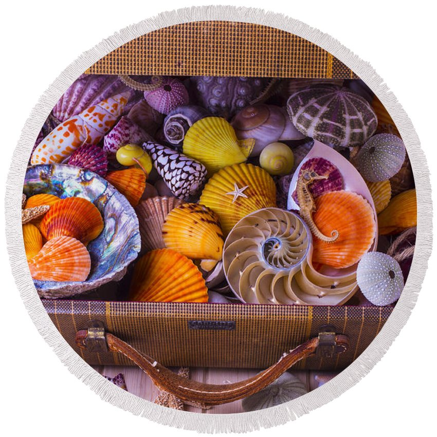 Suitcase Full Sea Shells Travel Round Beach Towel featuring the photograph Worn Suitcase Full Of Sea Shells by Garry Gay