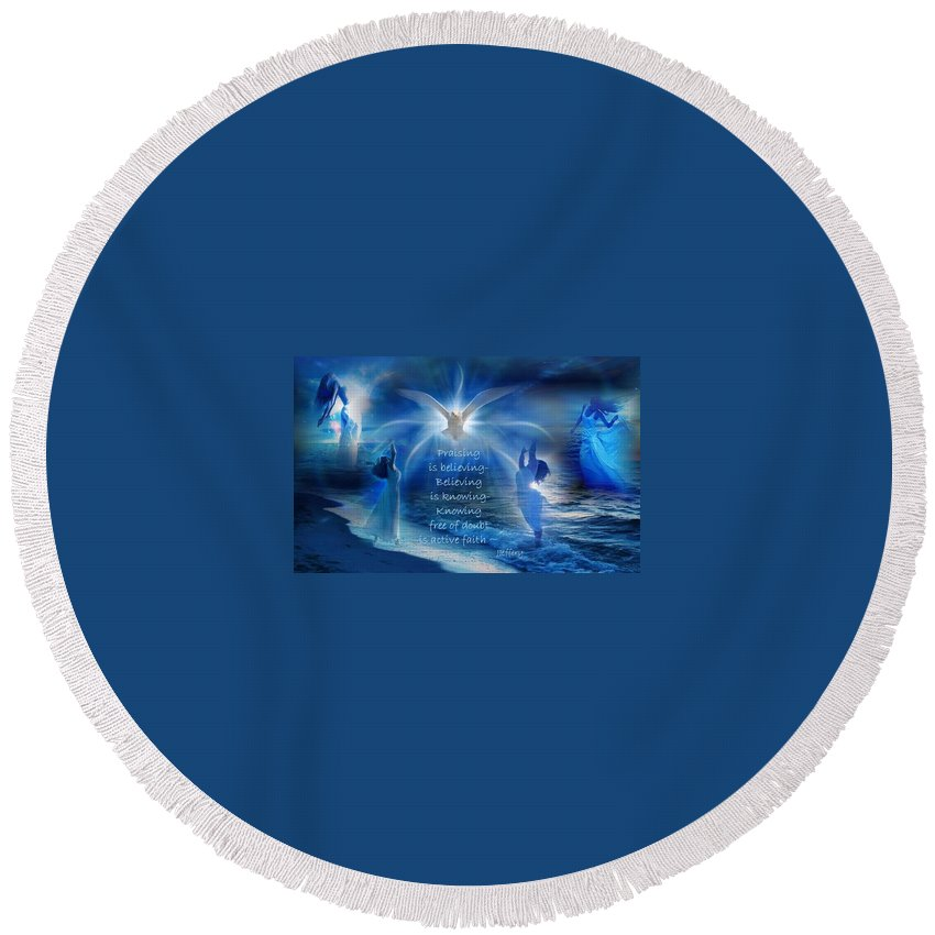 Worship Round Beach Towel featuring the digital art Worship by Jewell McChesney