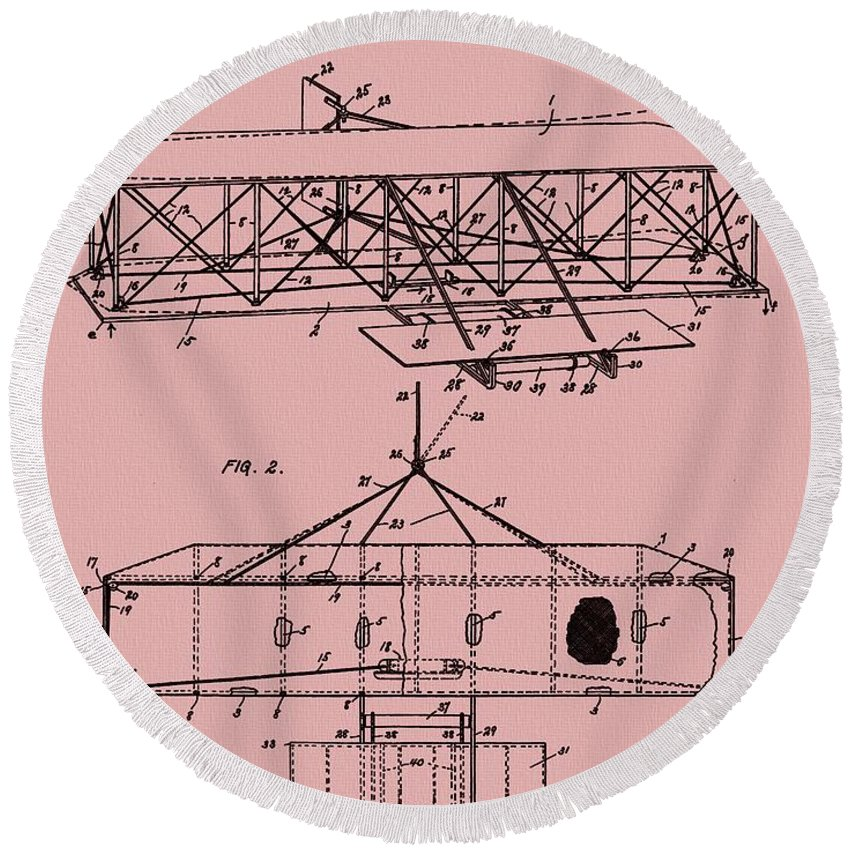 The Wright Brothers Airplane Patent Round Beach Towel featuring the mixed media Wright Brothers Patent Red by Dan Sproul