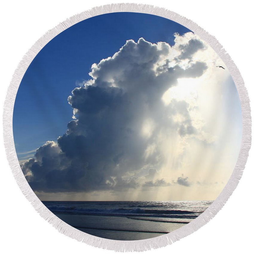 Michael Weeks Round Beach Towel featuring the photograph Wrightsville Beach Skyscape by Mountains to the Sea Photo