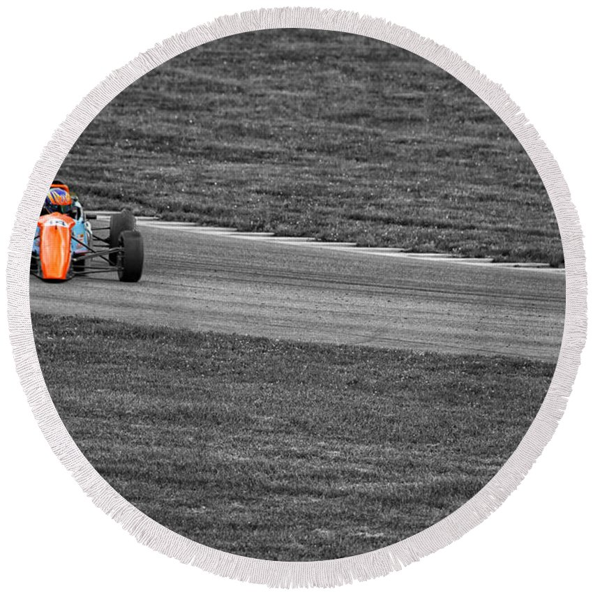 Racing Round Beach Towel featuring the photograph Wrong Way by Karol Livote