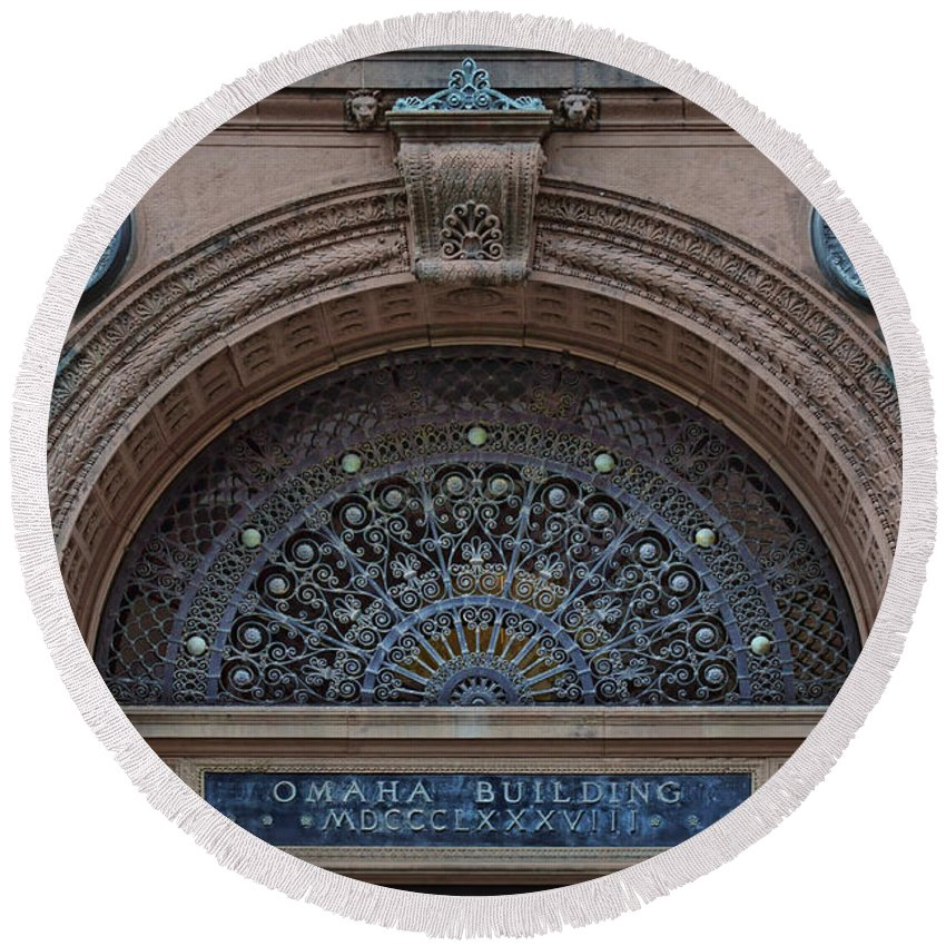 Wrought Iron Grille Round Beach Towel featuring the photograph Wrought Iron Grille - The Omaha Building by Nikolyn McDonald