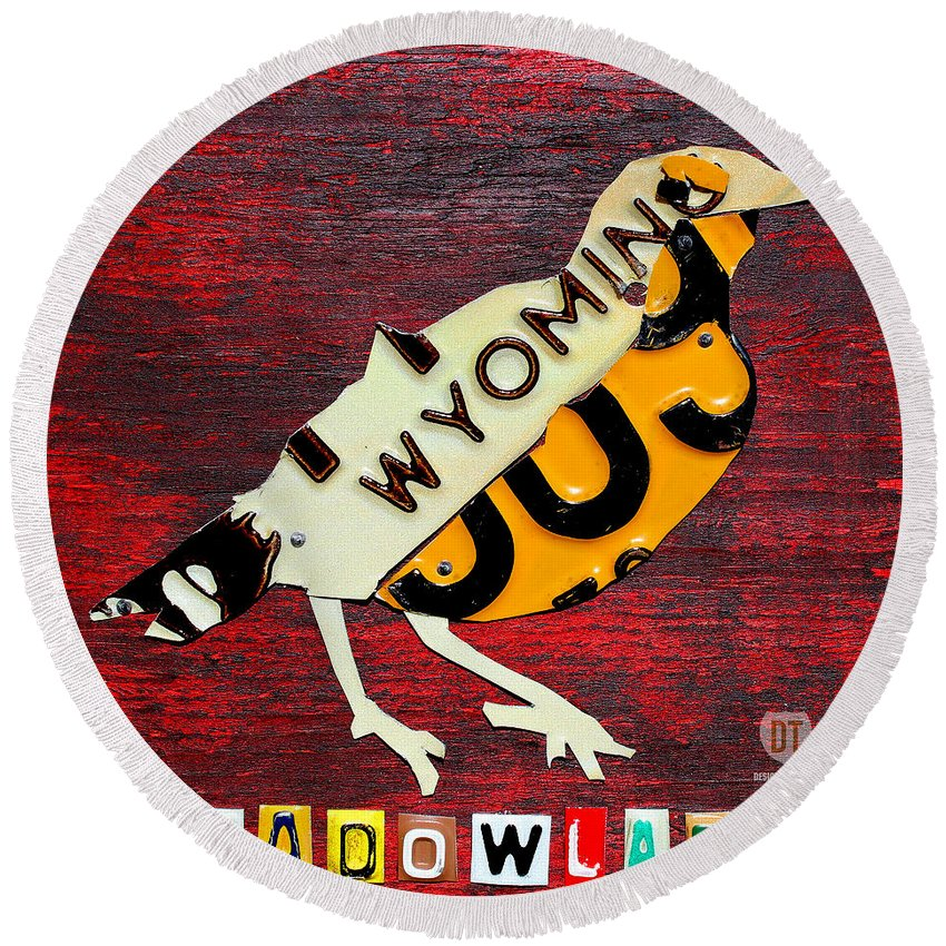 Wyoming Round Beach Towel featuring the mixed media Wyoming Meadowlark Wild Bird Vintage Recycled License Plate Art by Design Turnpike