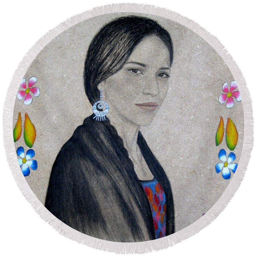 Flower Round Beach Towel featuring the painting Xochitl by Lynet McDonald