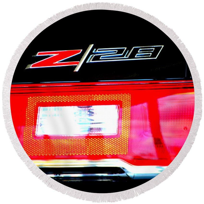Z28 Round Beach Towel featuring the photograph Xxl Chevrolet 2014 Z28 Tail Light by Katy Hawk