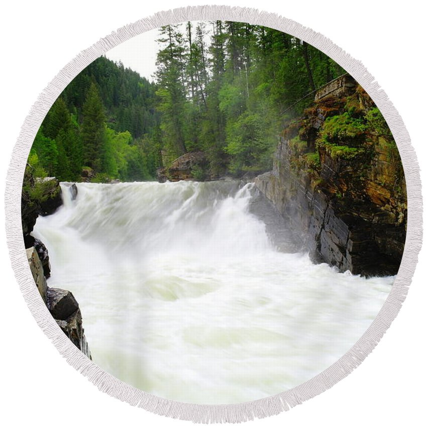 Water Round Beach Towel featuring the photograph Yaak Falls by Jeff Swan