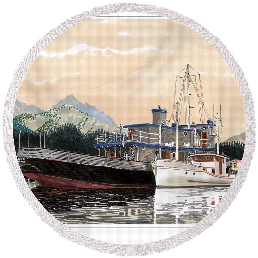 Yacht Portraits Round Beach Towel featuring the painting Alaskan Sunrise by Jack Pumphrey