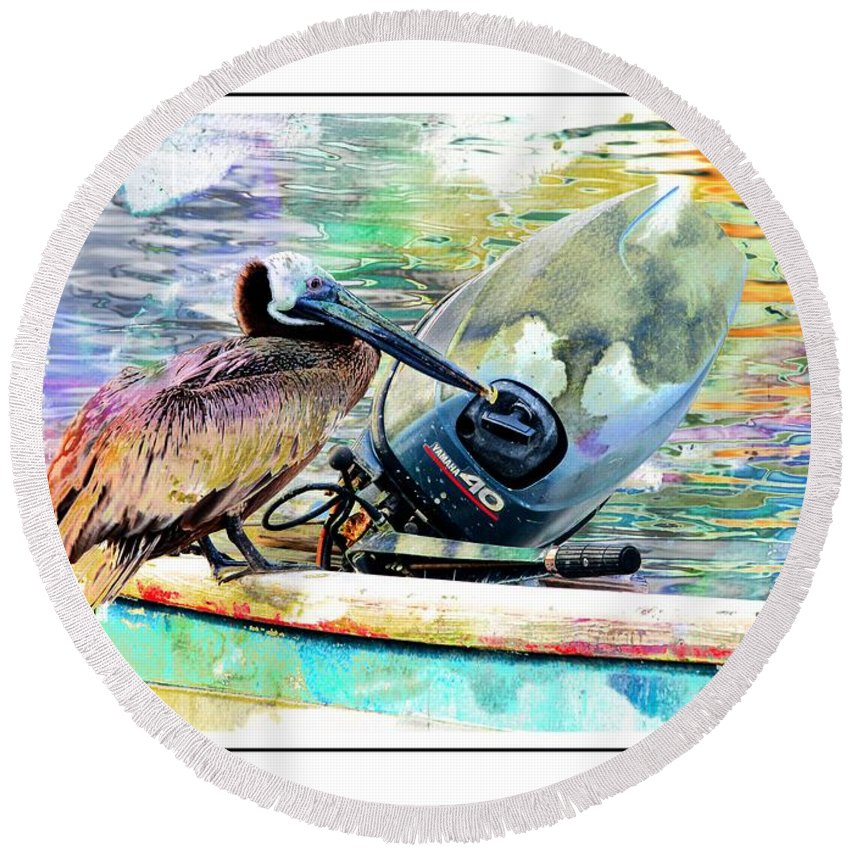 Pelican Round Beach Towel featuring the photograph Yamaha Pelican by Alice Gipson