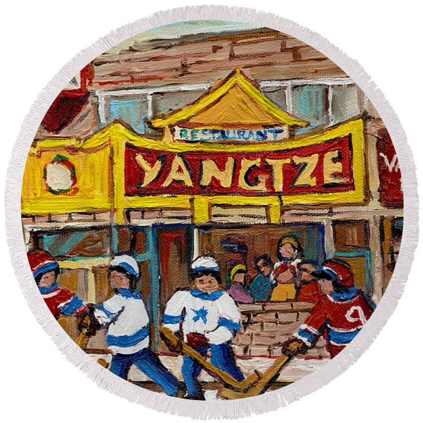 Montreal Round Beach Towel featuring the painting Yangtze Restaurant With Van Horne Bagel And Hockey by Carole Spandau