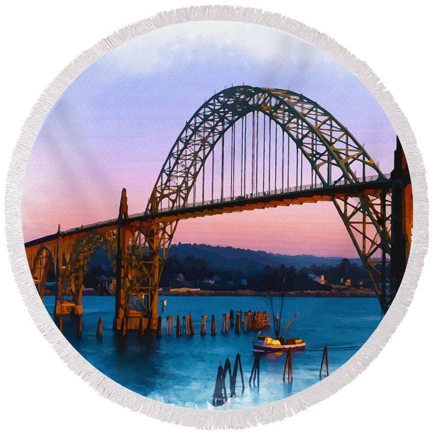 Water Round Beach Towel featuring the digital art Yaquina Bay Bridge by Don Kuing