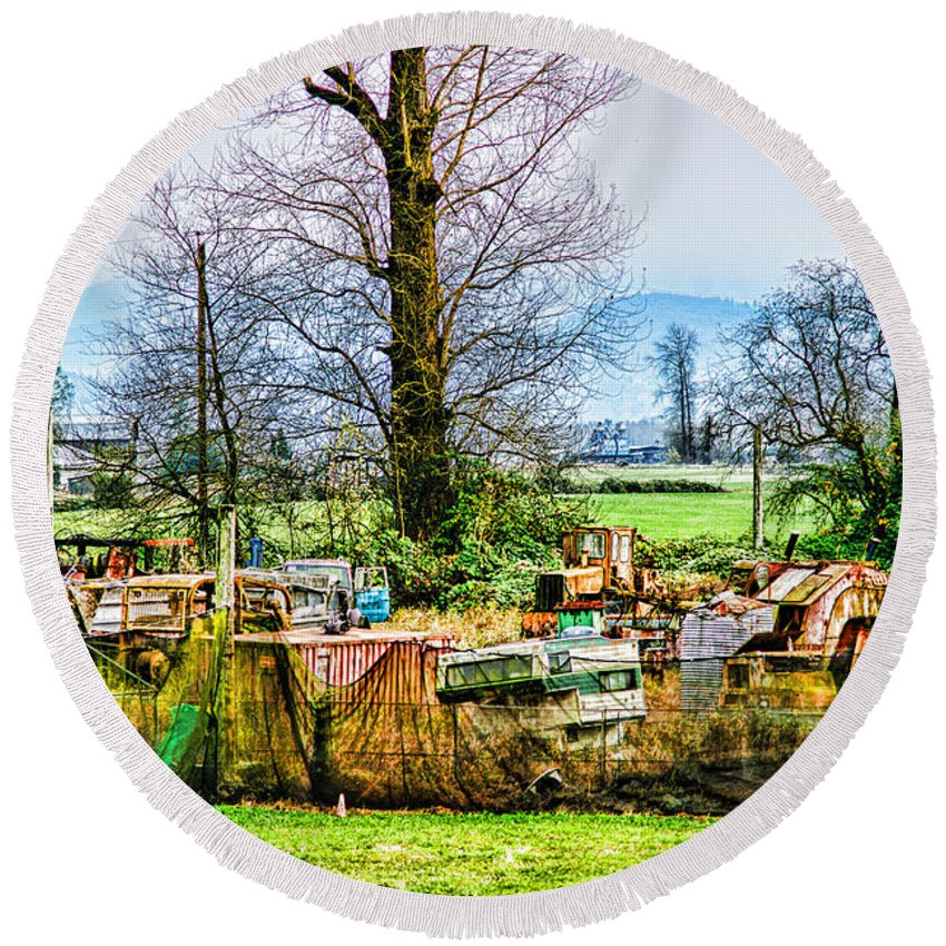 Junk Round Beach Towel featuring the photograph Yard Of Scrap by Randy Harris