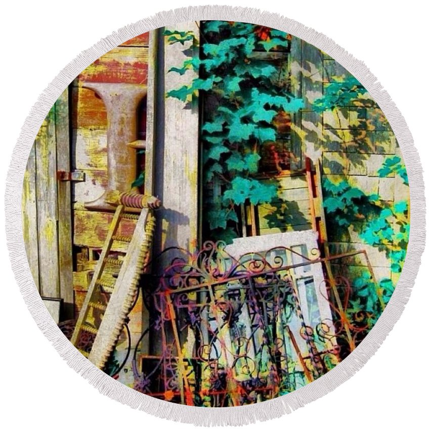 Sharkcrossing Round Beach Towel featuring the painting Yard Sale Antiques - Horizontal by Lyn Voytershark