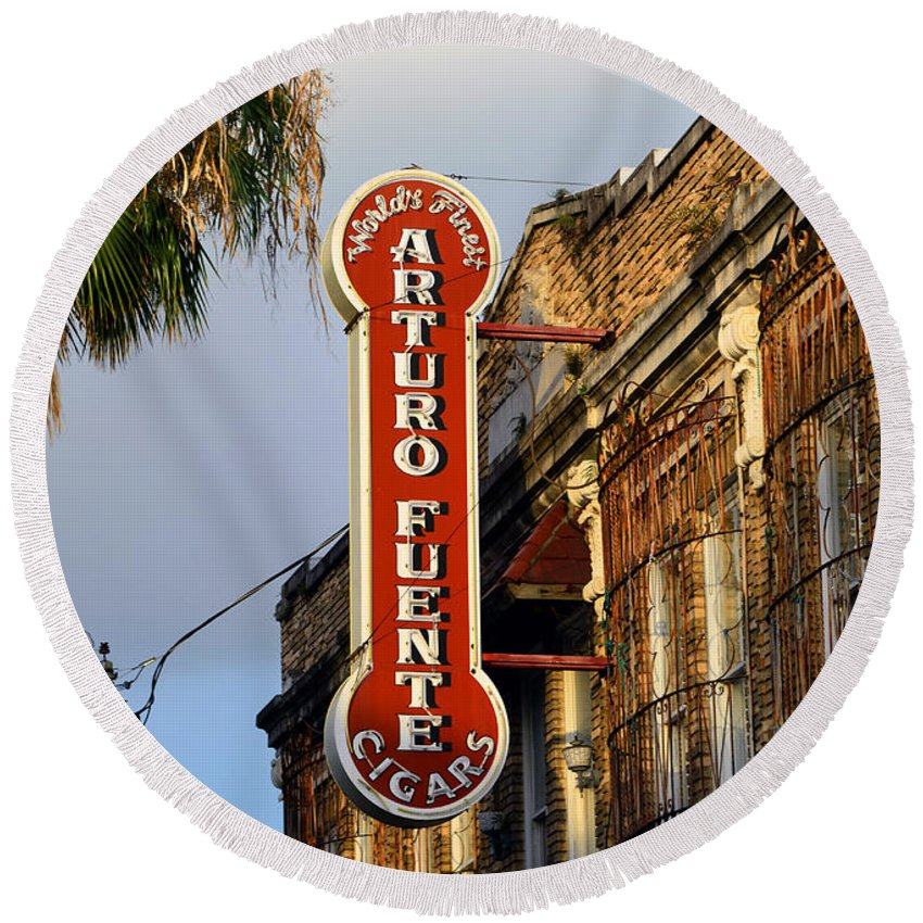 Ybor City Florida Round Beach Towel featuring the photograph Ybor City Cigar Sign Color Work One by David Lee Thompson