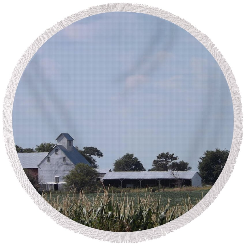 Corn Round Beach Towel featuring the photograph Ye Olde Farmstead by Caryl J Bohn
