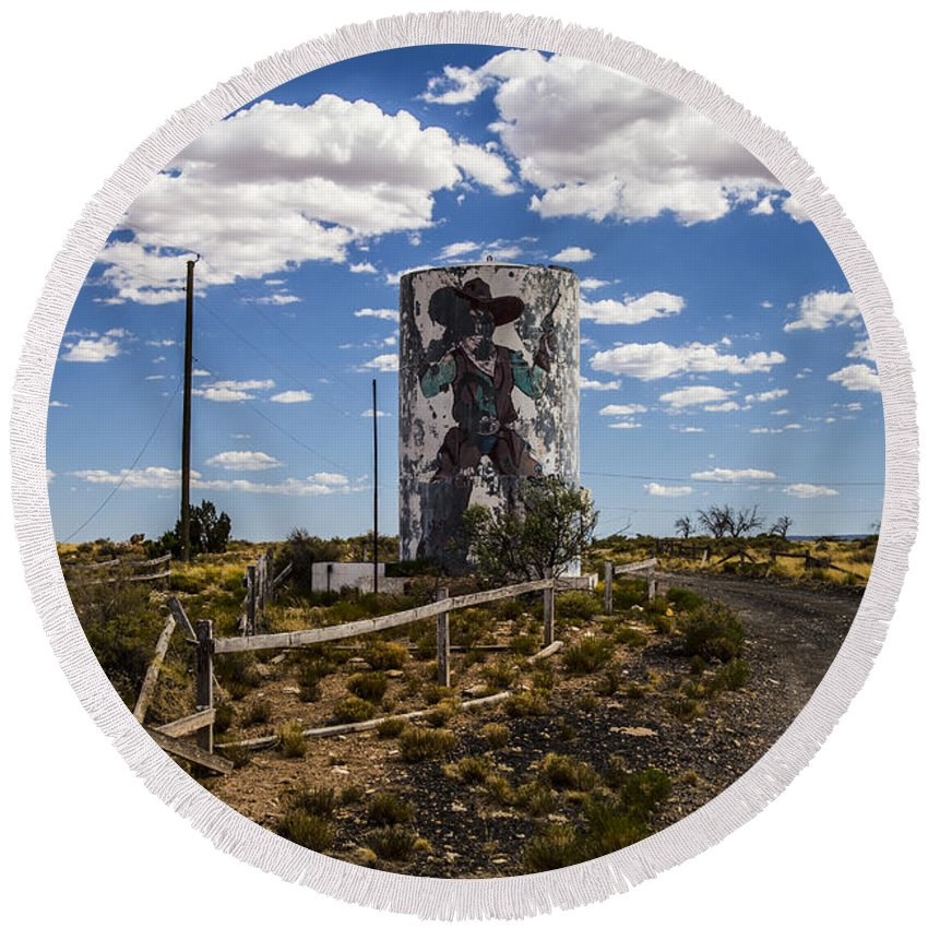 Route 66 Round Beach Towel featuring the photograph Yee Haw by Angus Hooper Iii