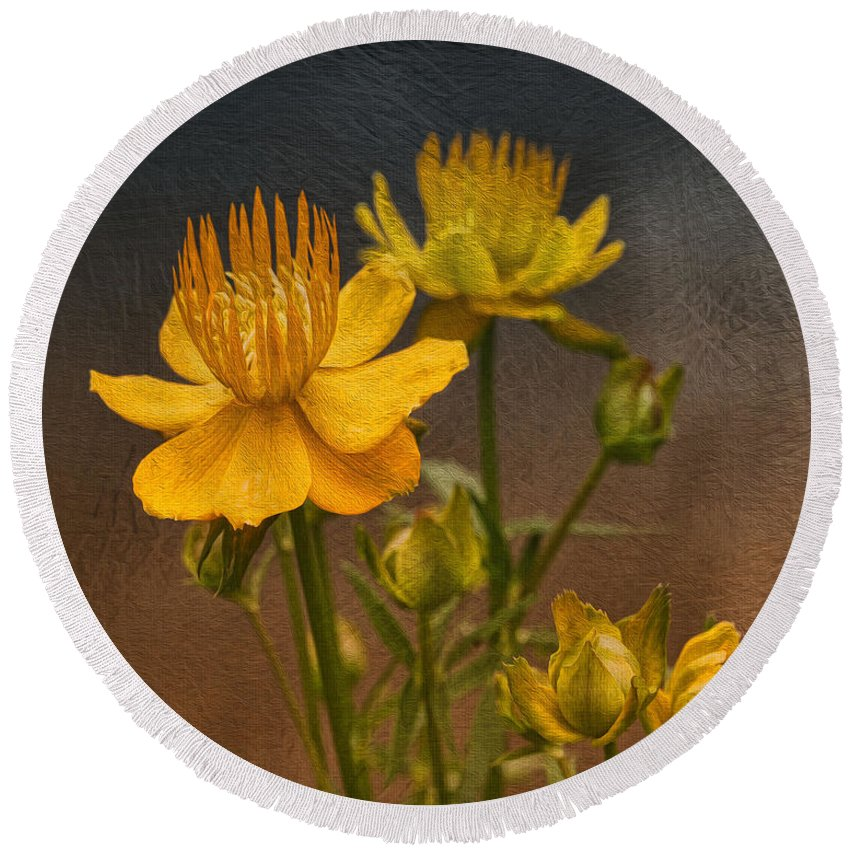 Flower Round Beach Towel featuring the photograph Yellow Aged Floral by Deborah Benoit