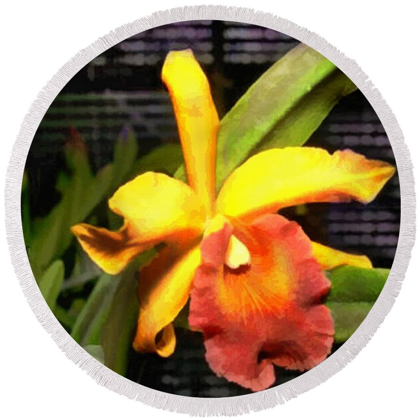 Orchid Round Beach Towel featuring the painting Yellow And Orange Cattleya In The Hothouse by Elaine Plesser