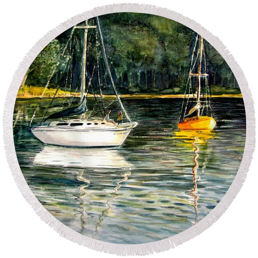Sailboats Round Beach Towel featuring the painting Yellow Boat Sister Bay by Marilyn Smith