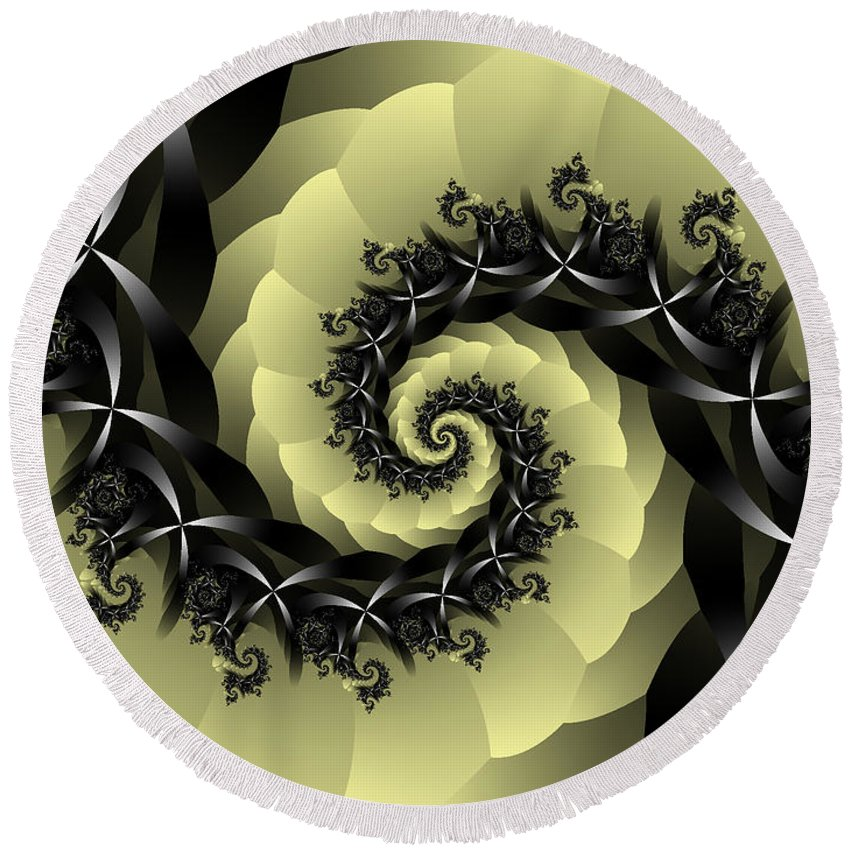 Fractal Art Round Beach Towel featuring the digital art Yellow Brick Road Detour by Elizabeth McTaggart