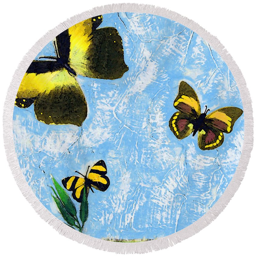 Butterfly Round Beach Towel featuring the painting Yellow Butterflies - Spring Art By Sharon Cummings by Sharon Cummings