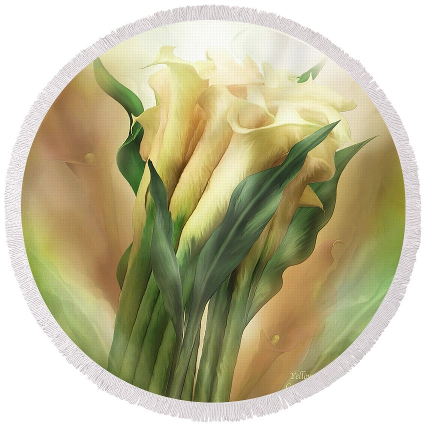 Calla Lily Art Round Beach Towel featuring the mixed media Yellow Callas by Carol Cavalaris