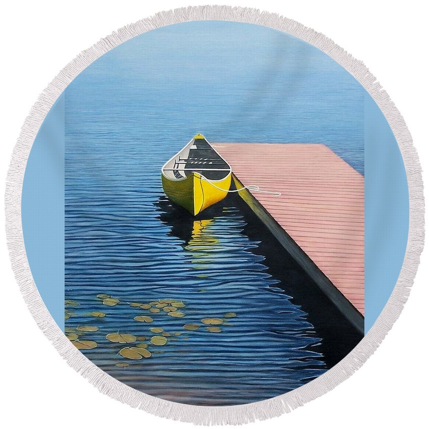 Landscape Paintings Round Beach Towel featuring the painting Yellow Canoe by Kenneth M Kirsch