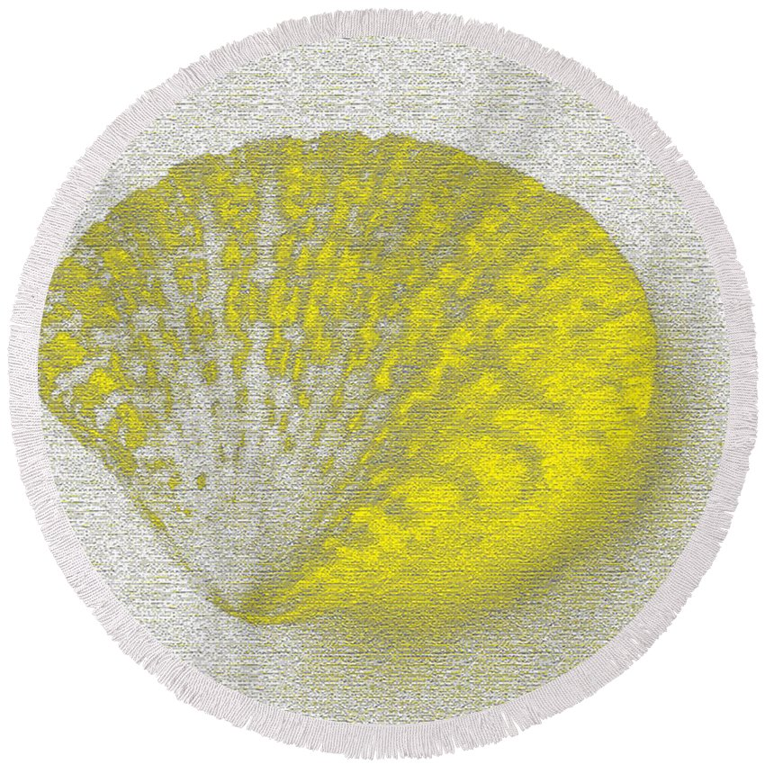 Yellow Round Beach Towel featuring the digital art Yellow by Carol Lynch