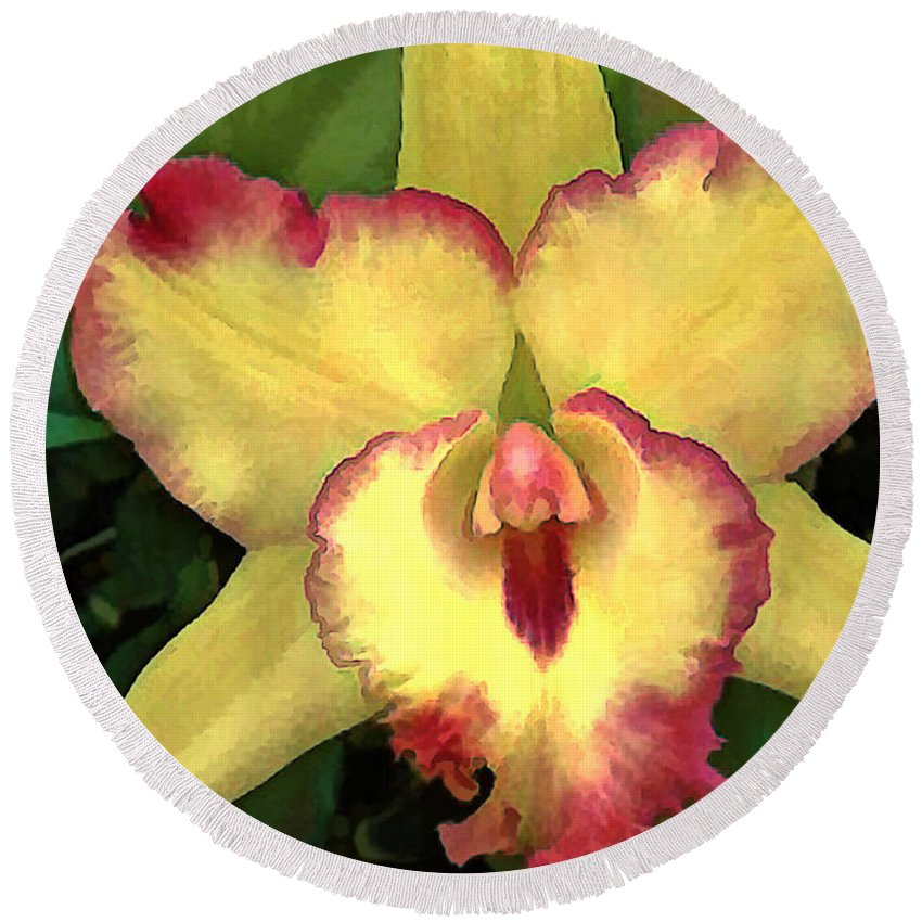 Orchid Round Beach Towel featuring the painting Yellow Cattleya With Red Ruffles by Elaine Plesser