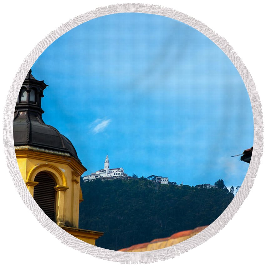 Bogota Round Beach Towel featuring the photograph Yellow Church And Monserrate by Jess Kraft
