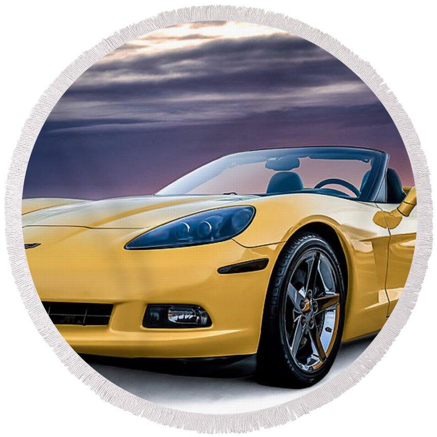 Yellow Round Beach Towel featuring the digital art Yellow Corvette Convertible by Douglas Pittman