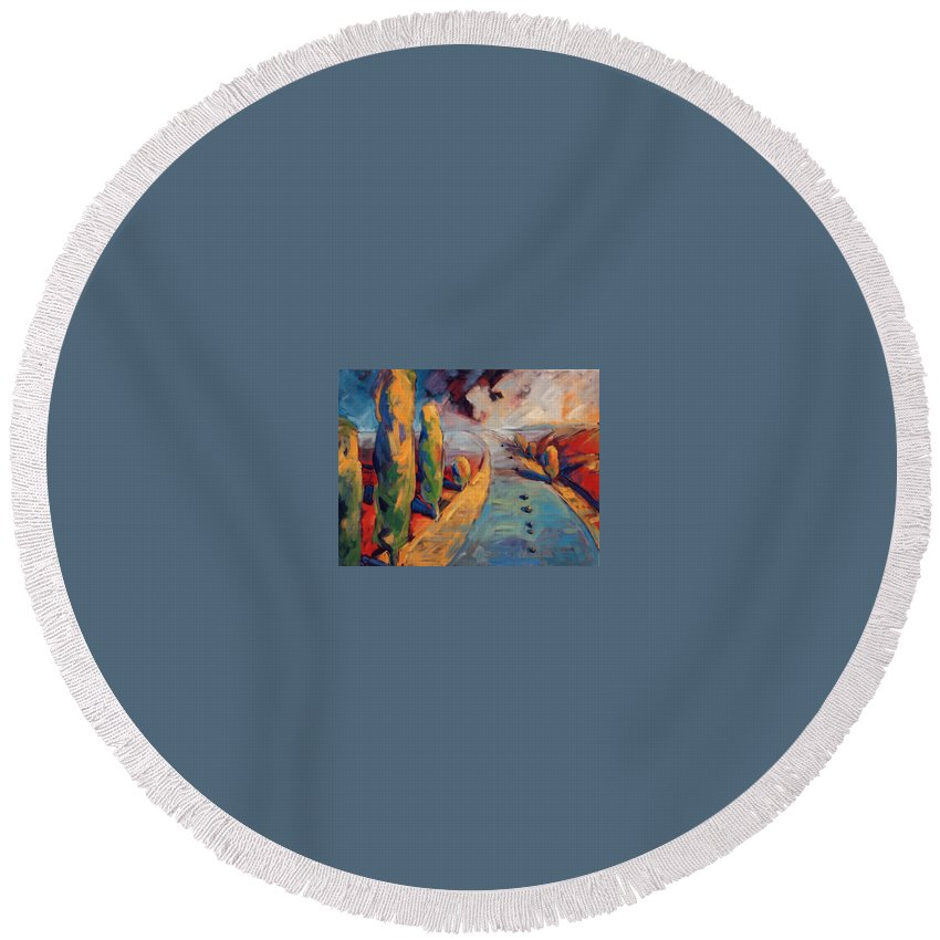 California Round Beach Towel featuring the painting Yellow Cypress by Konnie Kim