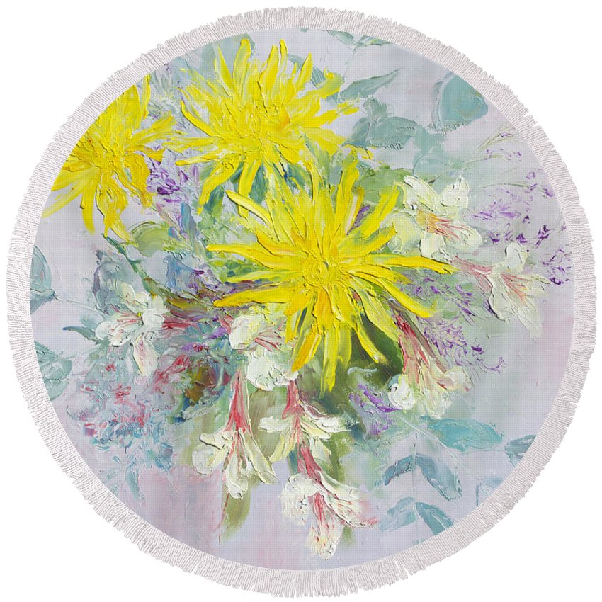 Dahlias Painting Round Beach Towel featuring the painting Yellow Dahlias And Peruvian Lilies by Jan Matson