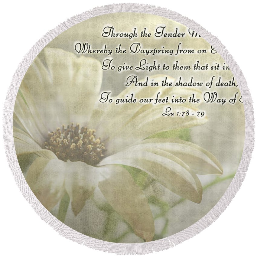 Nature Round Beach Towel featuring the photograph Yellow Daisy Photoart With Verse by Debbie Portwood
