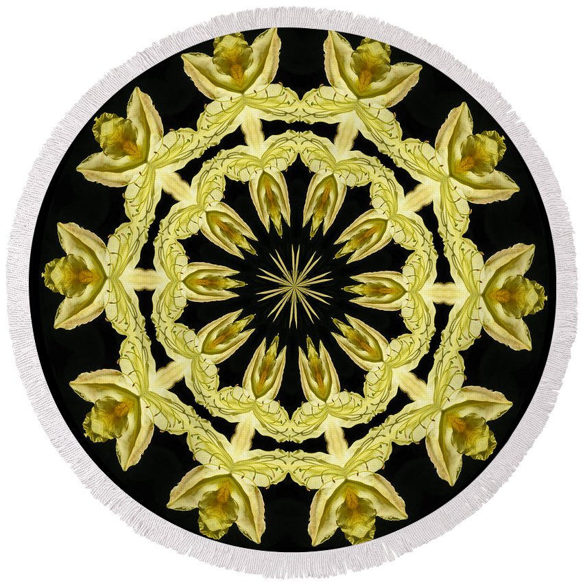 Kaleidoscope Round Beach Towel featuring the photograph Yellow Fantasy by Lena Photo Art