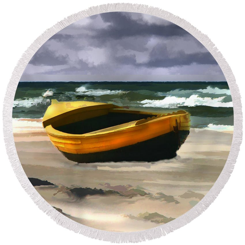 Landscape Round Beach Towel featuring the painting Yellow Fishing Dory Before The Storm by Elaine Plesser