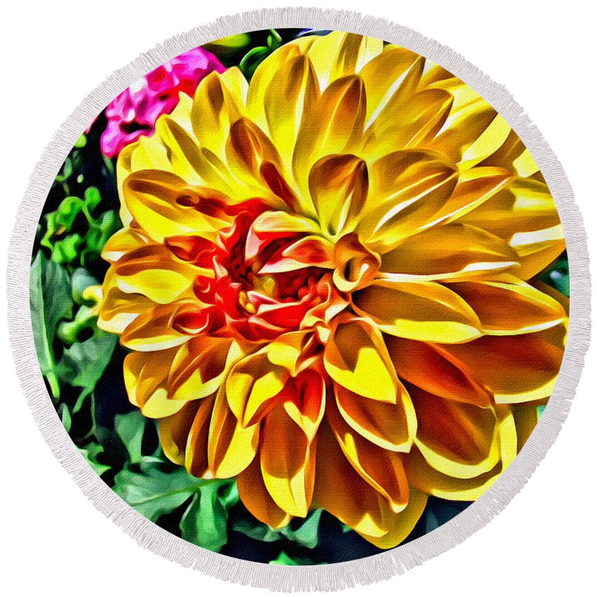 Flower Round Beach Towel featuring the photograph Yellow Flower by Alice Gipson