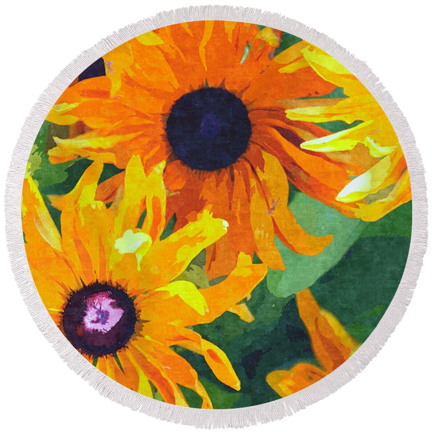 Yellow Round Beach Towel featuring the digital art Yellow Flowers by David Pringle