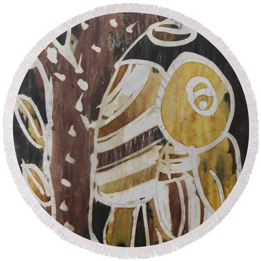 Yellow Head Brown Owl Bird On The Tree Round Beach Towel featuring the painting Yellow Head Brown Owl Bird On The Tree by Okunade Olubayo
