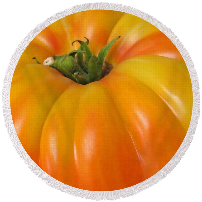 Tomato Round Beach Towel featuring the photograph Yellow Heirloom Tomato Art Prints by Valerie Garner