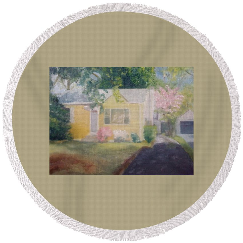 Burlington Township Round Beach Towel featuring the painting Yellow House by Sheila Mashaw