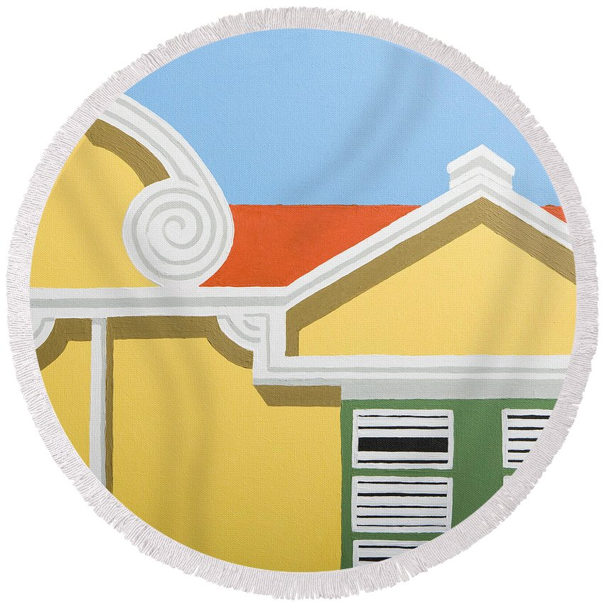 Yellow House Caribbean Architecture Curacao Aruba Antilles Sun Round Beach Towel featuring the painting Yellow House by Trudie Canwood