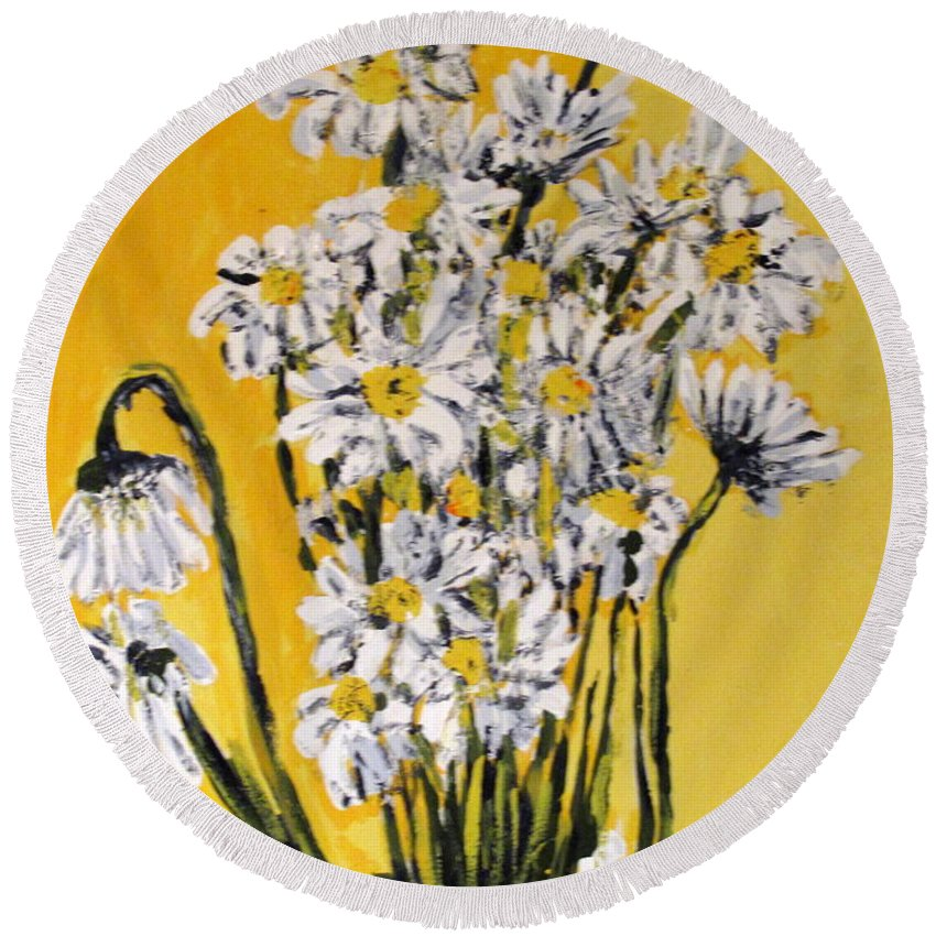 Daisy Round Beach Towel featuring the painting Yellow by Ian MacDonald