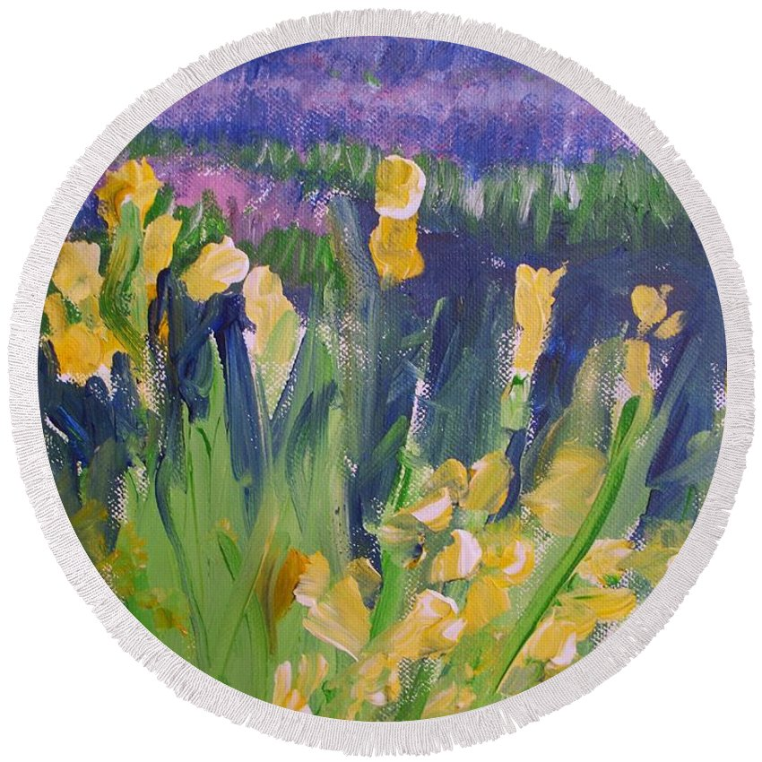 Provence Round Beach Towel featuring the painting Yellow Iris by Eric Schiabor