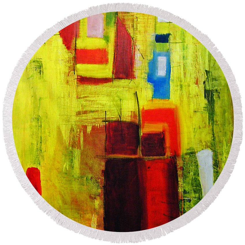 Abstract Painting Round Beach Towel featuring the painting Yellow by Jeff Barrett