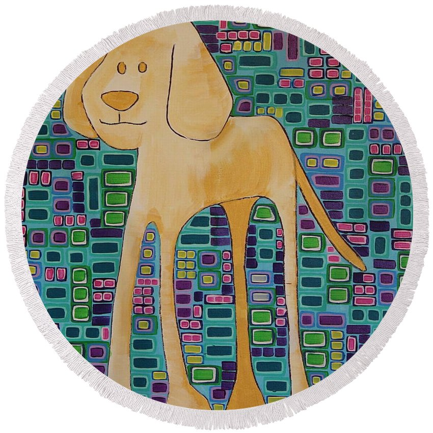 Puppy Round Beach Towel featuring the painting Yellow Lab Pup by Donna Howard