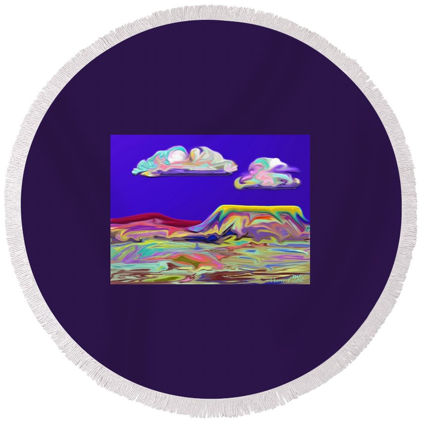 Mesa Round Beach Towel featuring the painting Yellow Mesa by Marie Clark
