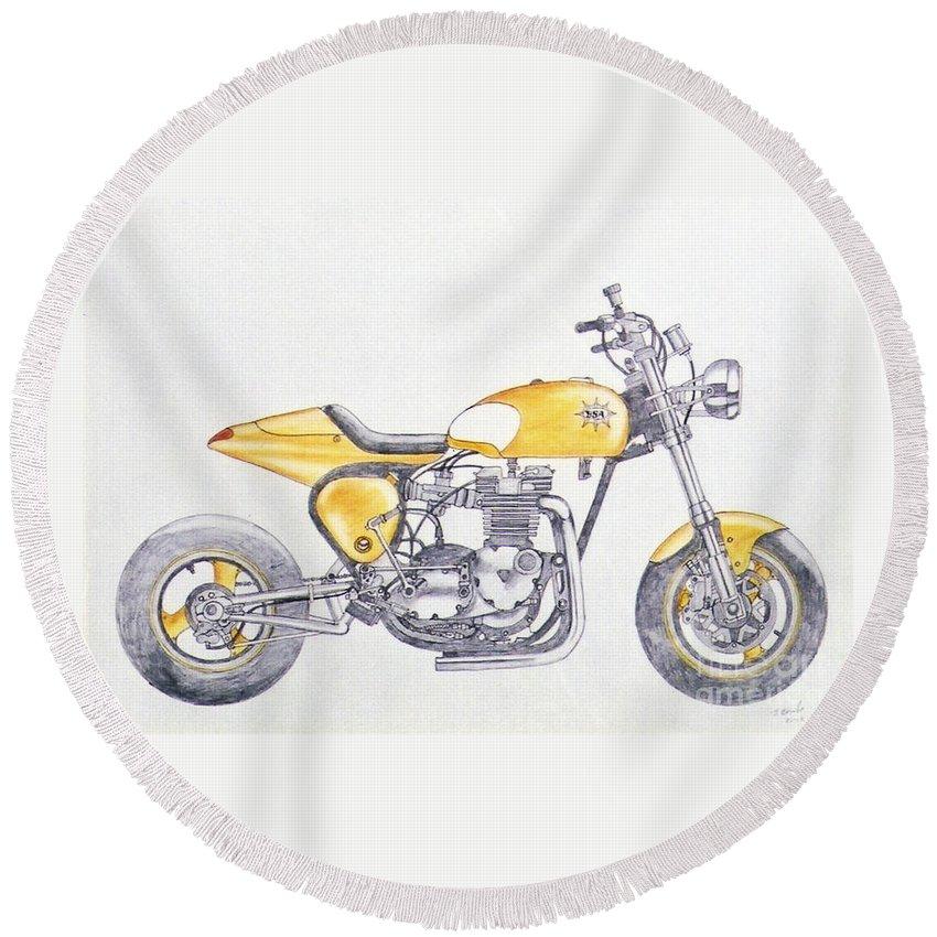 Kick Round Beach Towel featuring the drawing Yellow Peril by Stephen Brooks