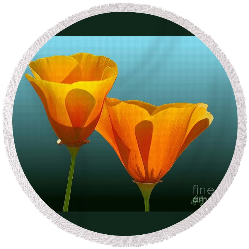 Flowers Round Beach Towel featuring the painting Yellow Poppies by Rand Herron