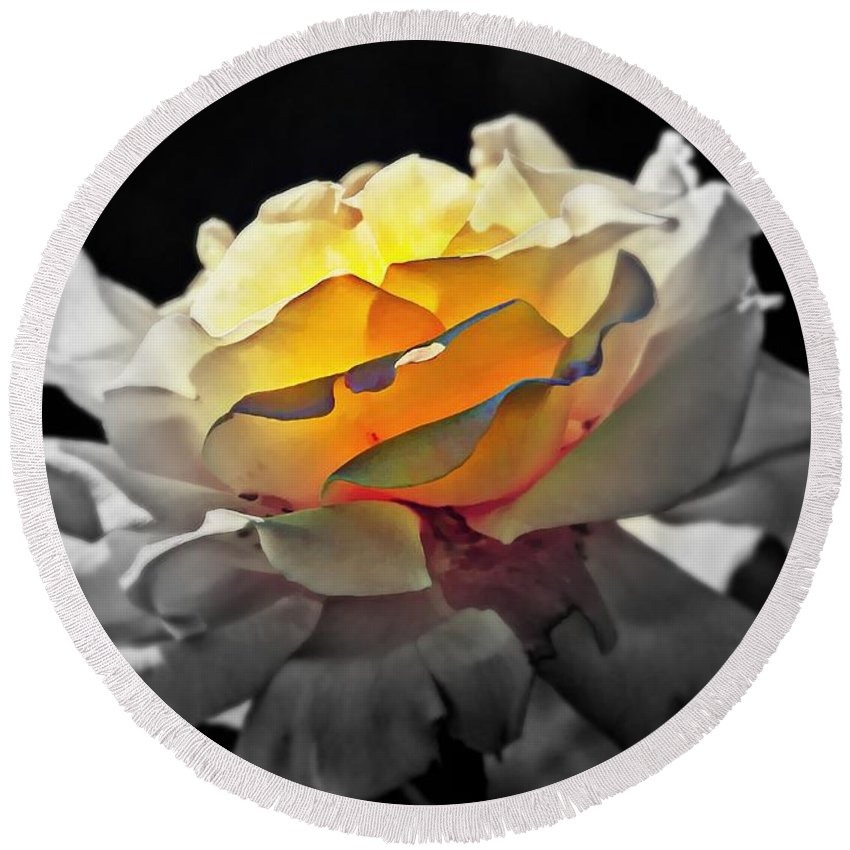 Flowers Round Beach Towel featuring the digital art Yellow Rose Series - ...but Soul Is Alive by Lilia D