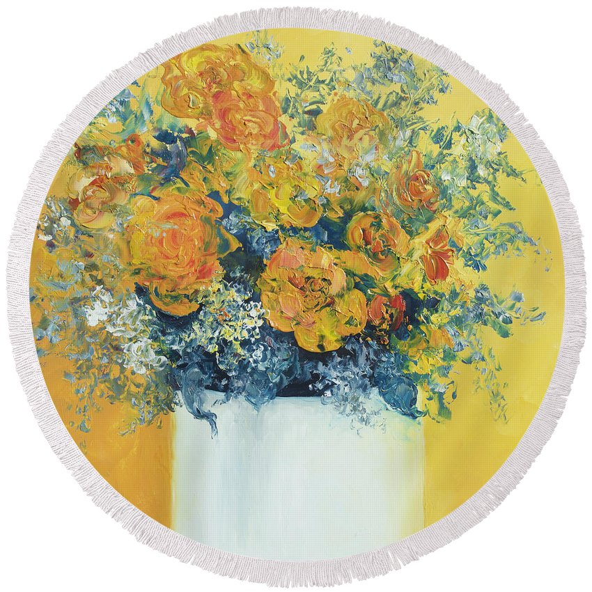 Roses Oil Painting Round Beach Towel featuring the painting Yellow Roses by Jan Matson